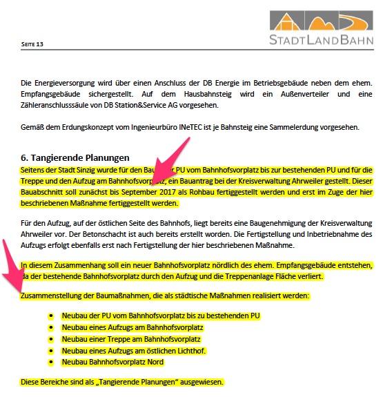 Erläuterungsbericht Bahnhofssanierung Sinzig